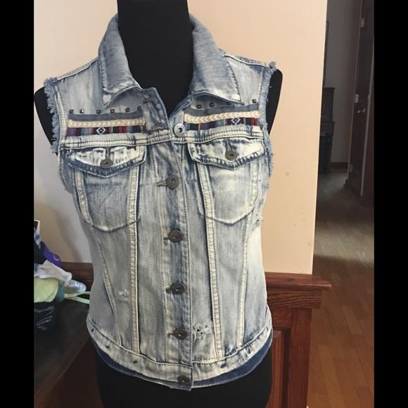 Mudd Jackets & Blazers - Denim distressed Jean jacket vest sleeveless med